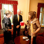Fran presenting traditional gifts to Sir Michael Jefferies & his wife 2009 at Admiralty House