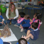 Fran working with Kindergarten students in Uluru NT : significance of the campfire